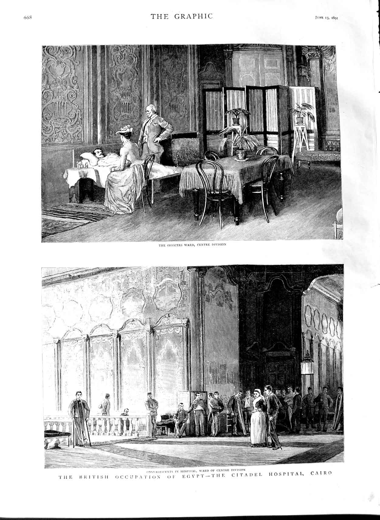 [Print 1891 Egypt Citadel Hospital Cairo Officers Ward Soldier 668M143 Old Original]