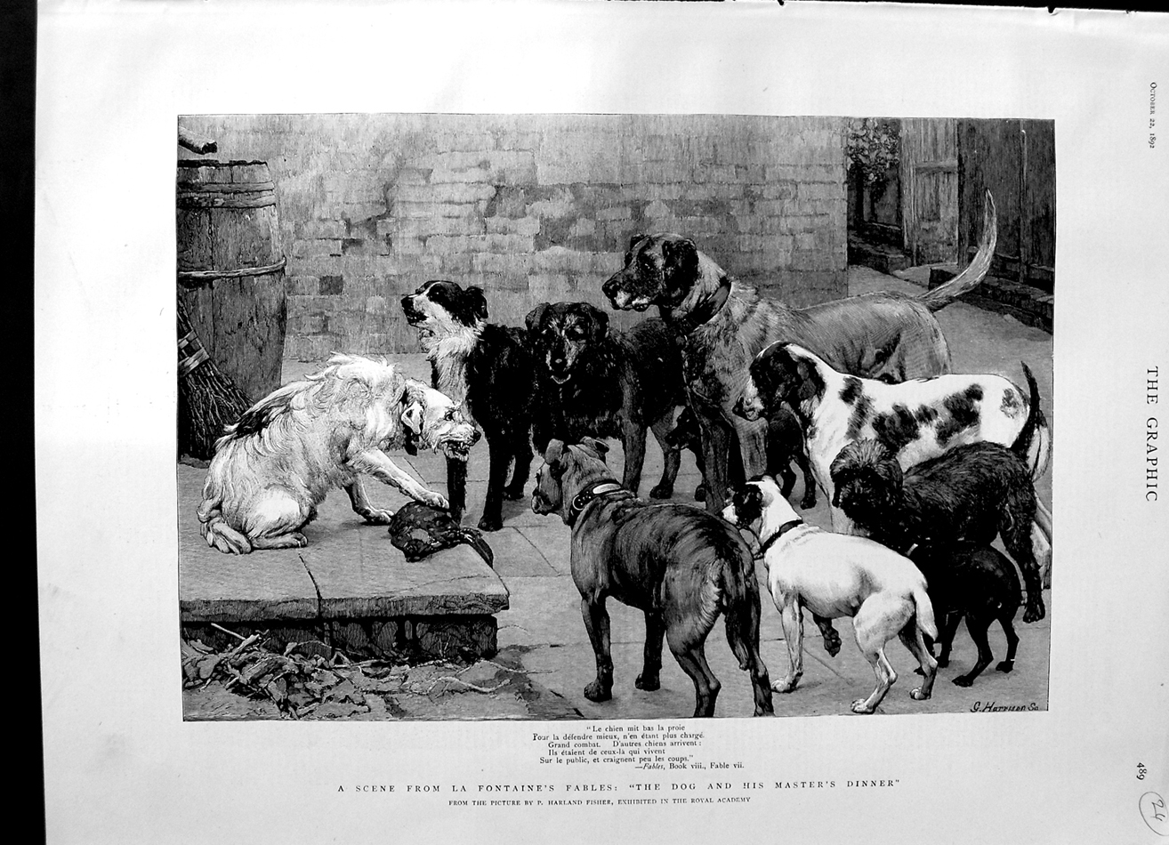 [Print 1892 Scene La Fontaine'S Fables Dogs Dinner Food Fisher 489M144 Old Original]