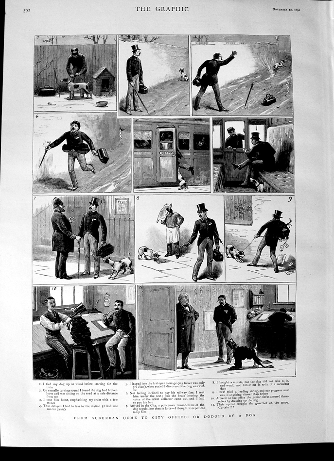 [Print 1892 Story Suburban Home City Office Dog Train Kennel 592M144 Old Original]