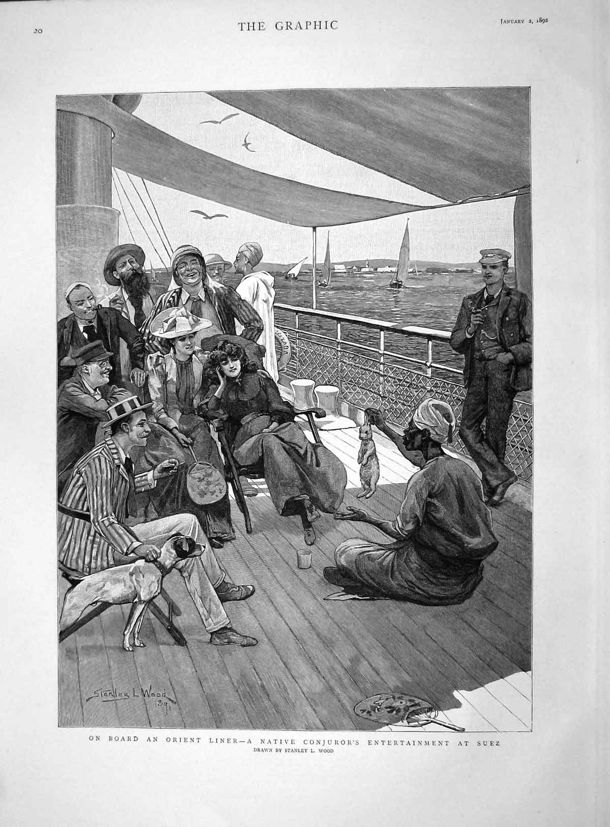 [Print 1892 Orient Liner Ship Native Conjuror Suez Wood  Old Original]