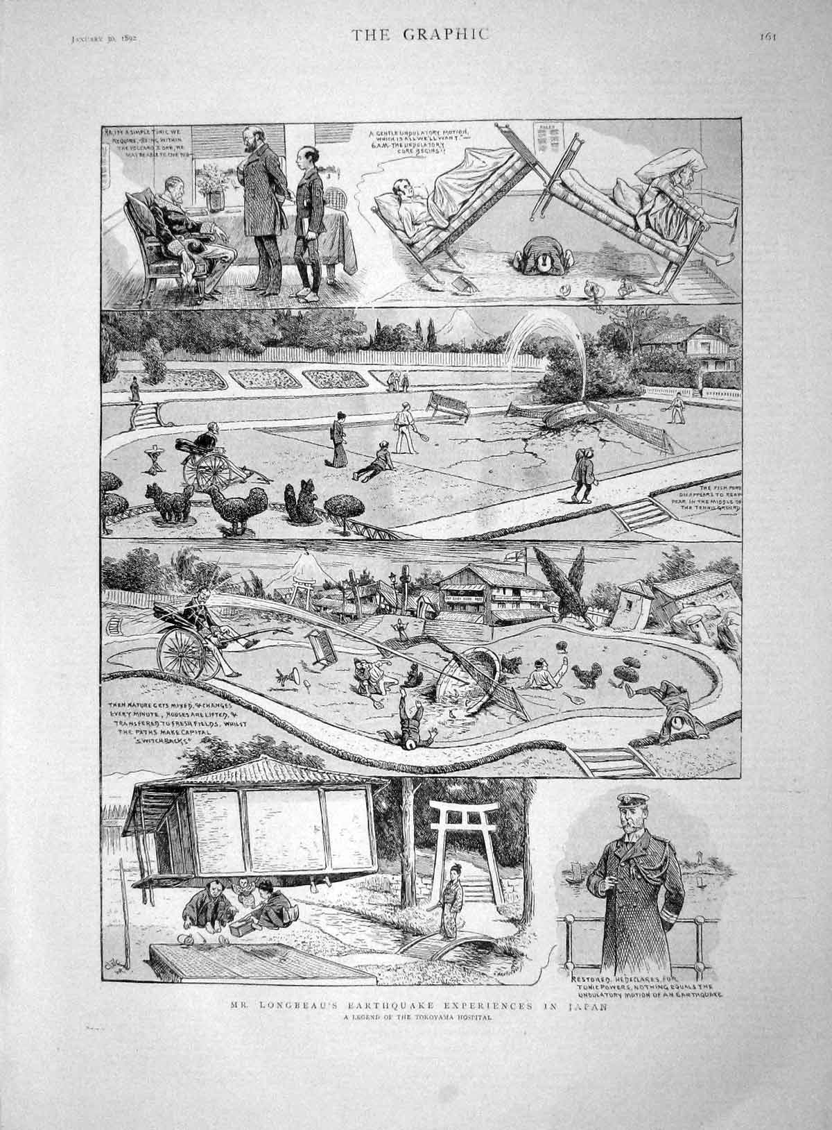 [Print 1892 Longbeau Earthquake Japan Tokoyama Hospital  Old Original]