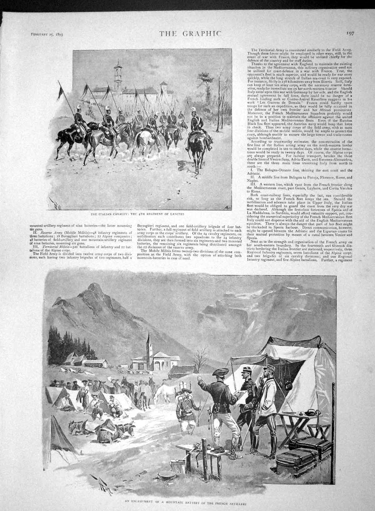 [Print 1893 Mountain Battery French Artillery Jager Corps War 197M147 Old Original]