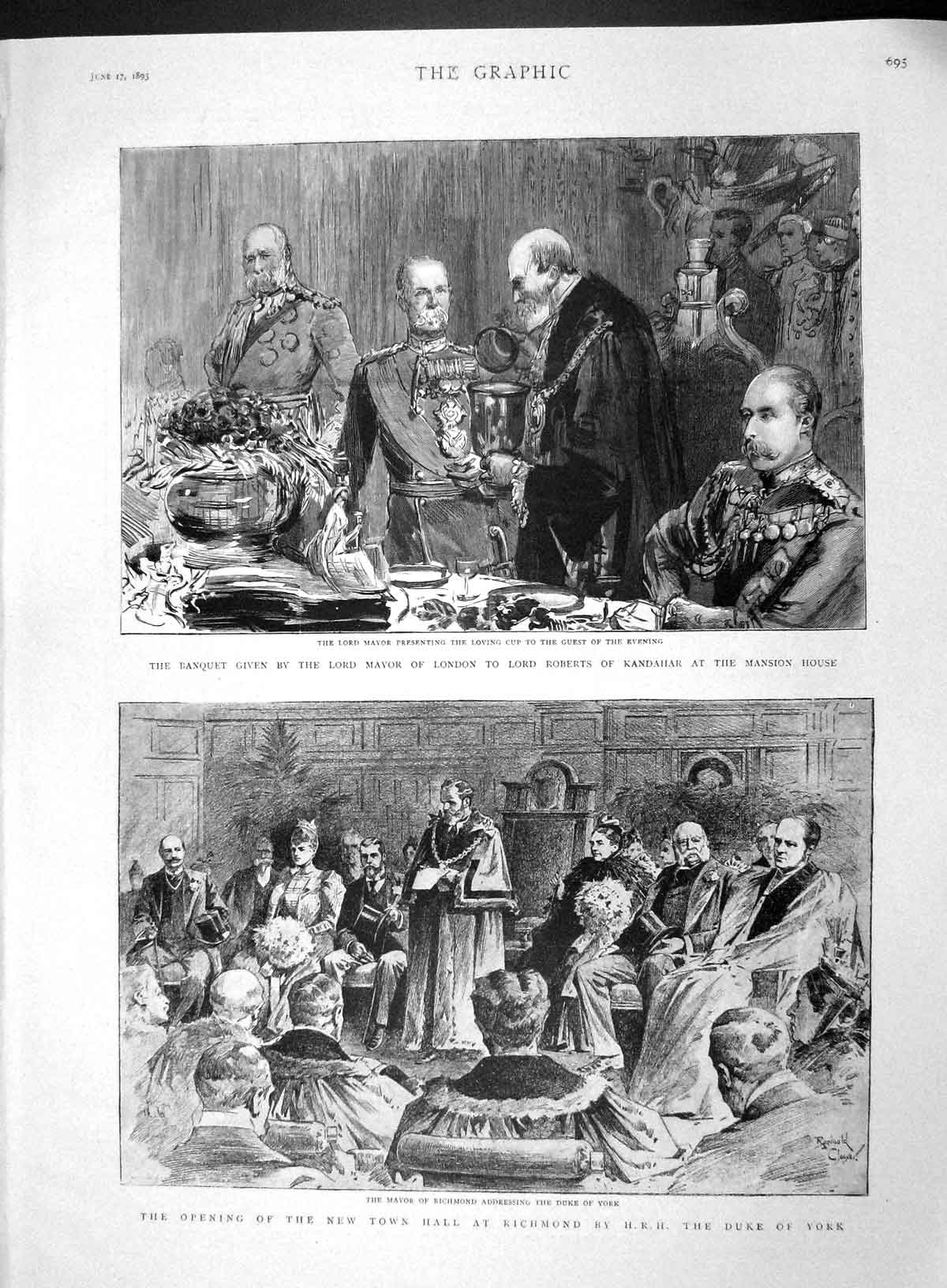 [Print 1893 Banquet Lord Mayor London Roberts Richmond York 695M147 Old Original]