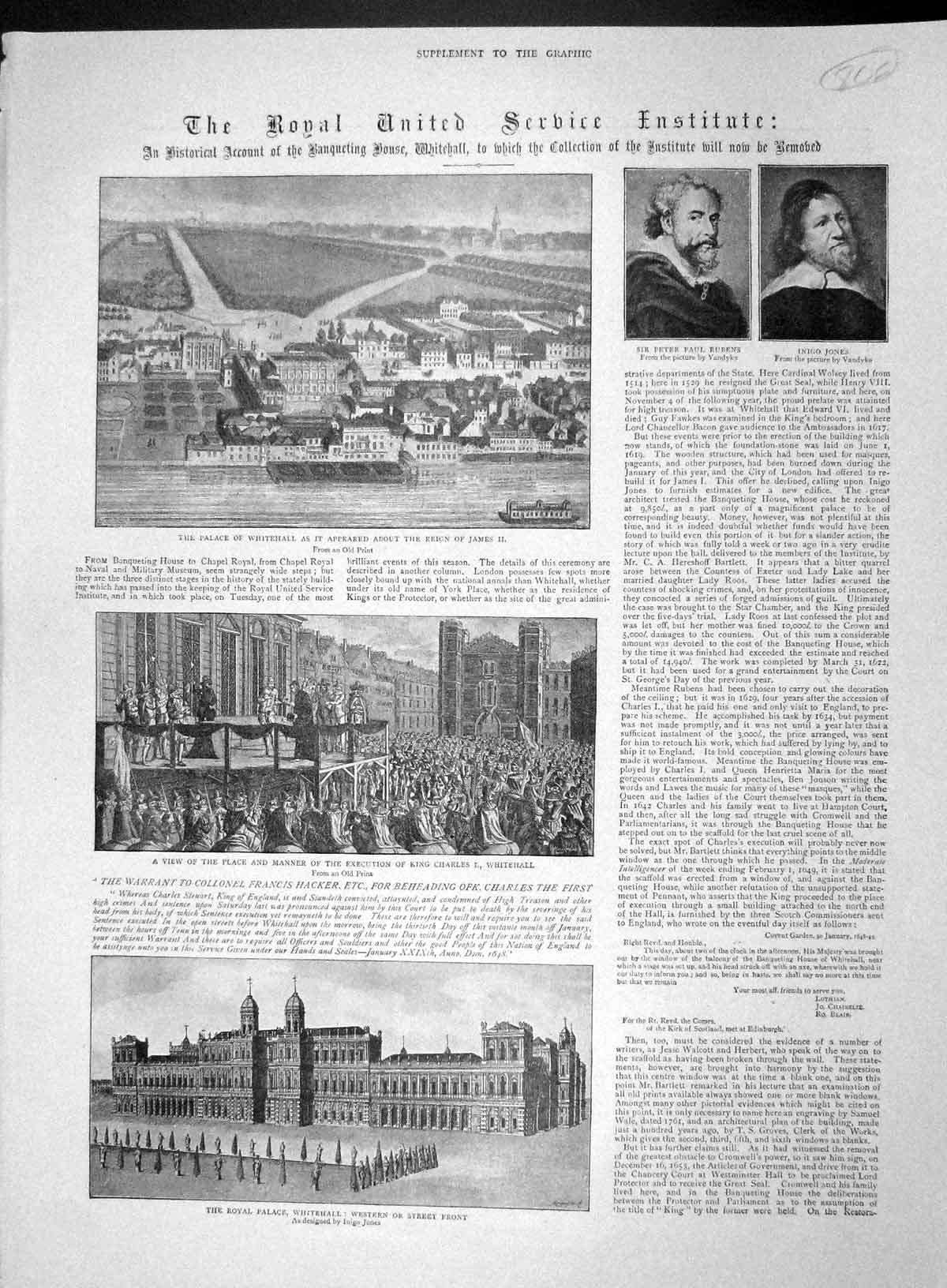 [Print 1893 Palace Whitehall Peter Rubens Jones King Charles 806M147 Old Original]