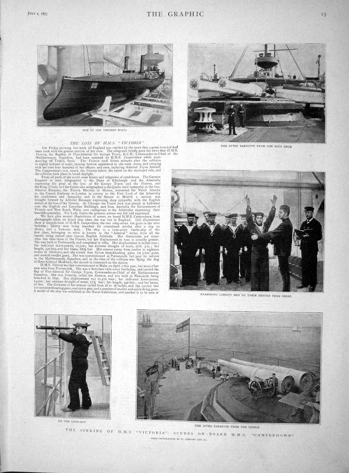 [Print 1893 Sinking Ship Victoria Camperdown Torpedo Boats 013M148 Old Original]