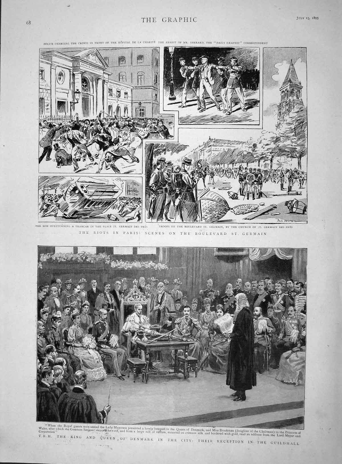 [Print 1893 King Denmark Guildhall Riots Paris Germaine France 068M148 Old Original]