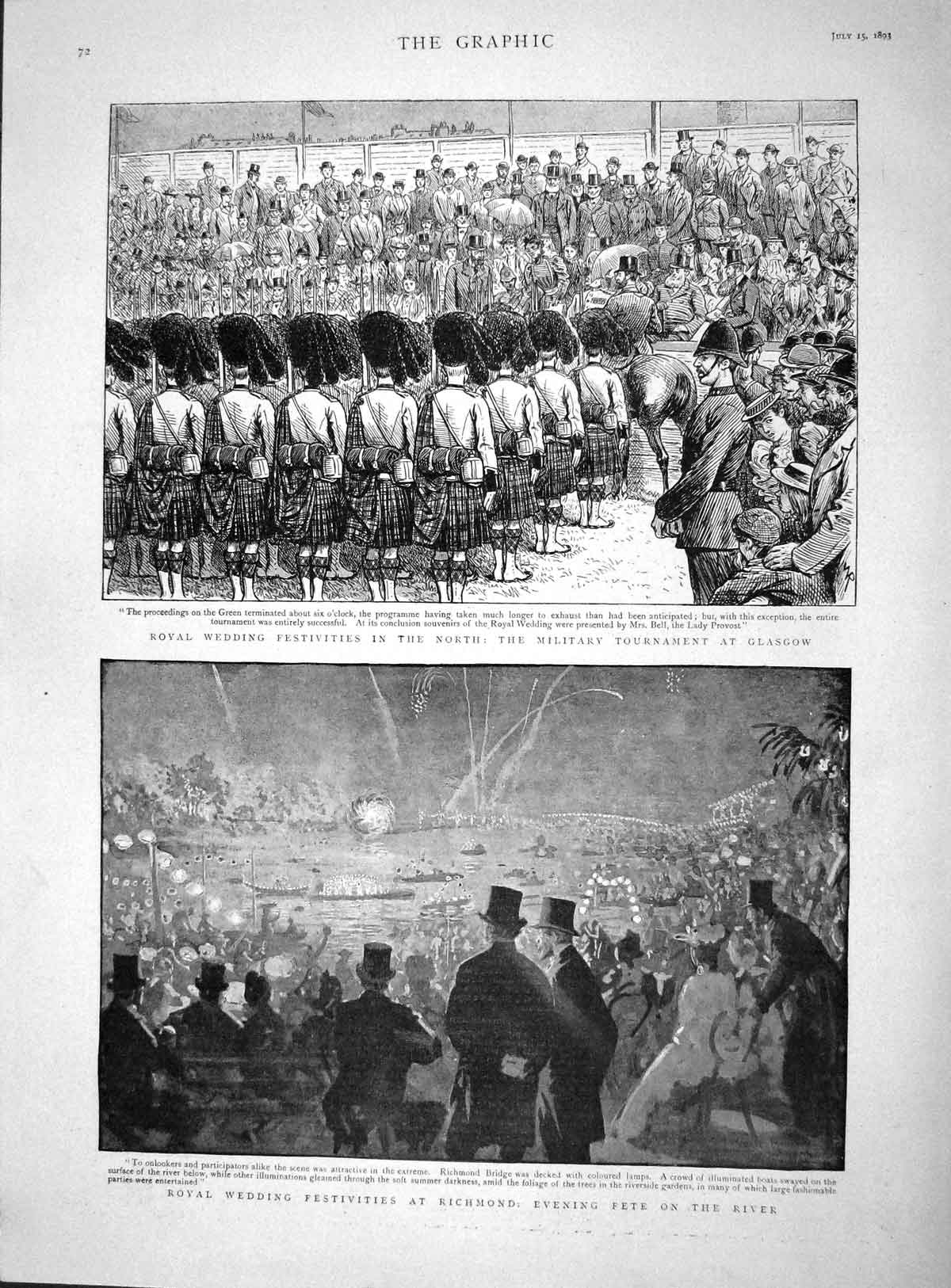 [Print 1893 Royal Wedding Festivities Glasgow Richmond River 072M148 Old Original]