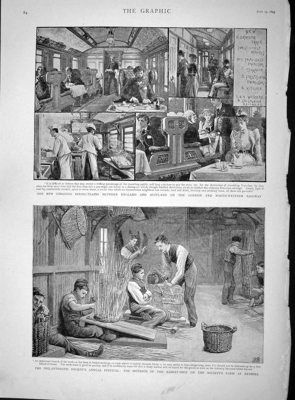 [Print 1893 Philanthropic Festival Redhill Train Dining Saloon 084M148 Old Original]