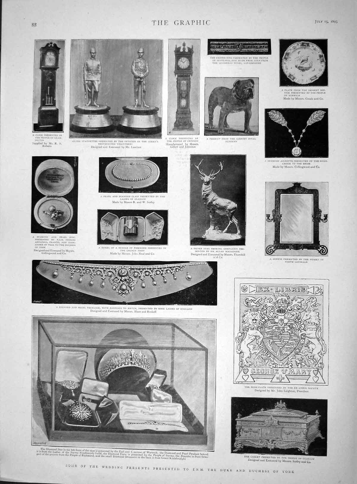 [Print 1893 Wedding Presents Duke York Mirror Silver Stag 088M148 Old Original]