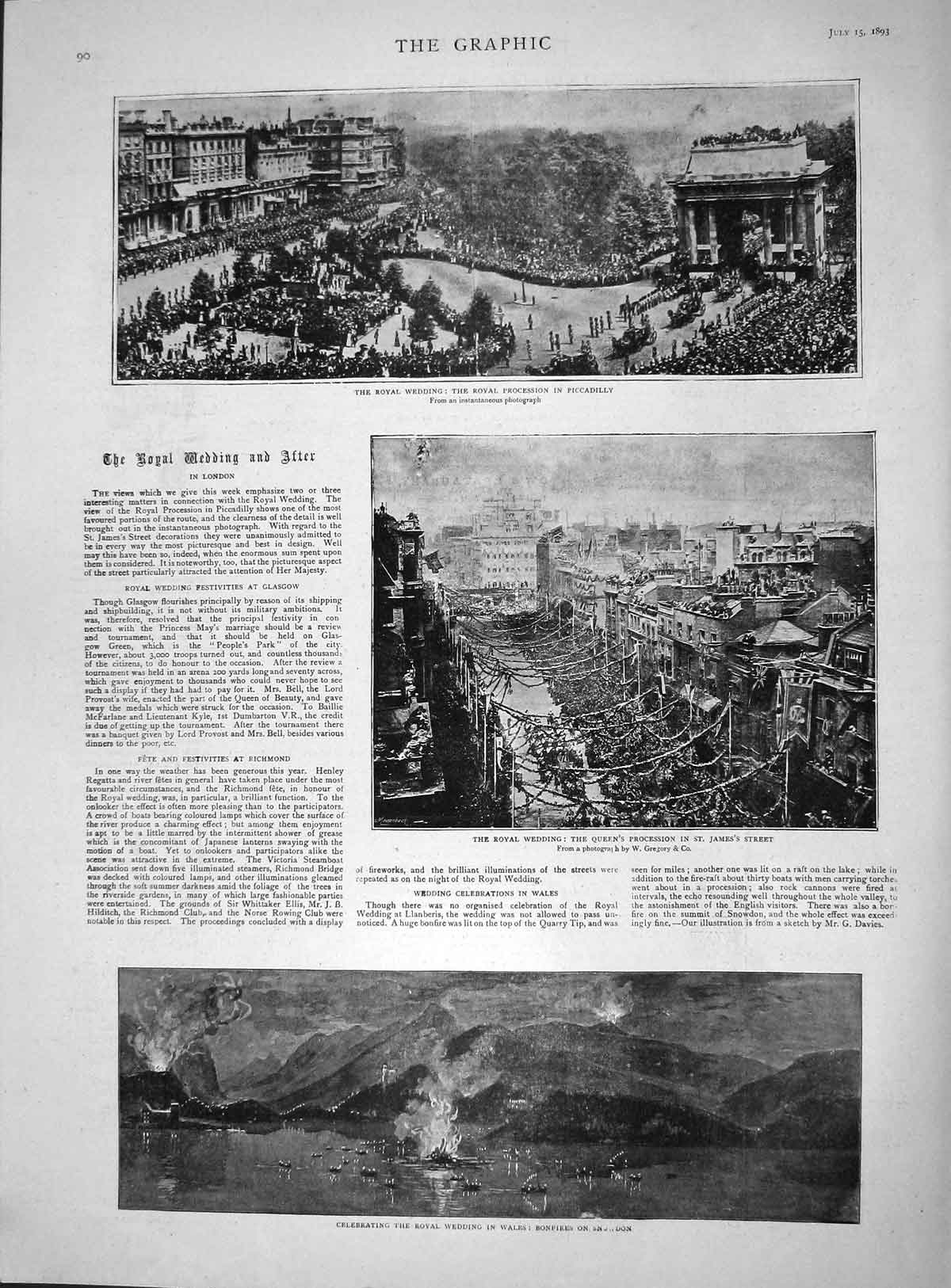 [Print 1893 Royal Wedding Bonfires Snowdon Wales Piccadilly 090M148 Old Original]