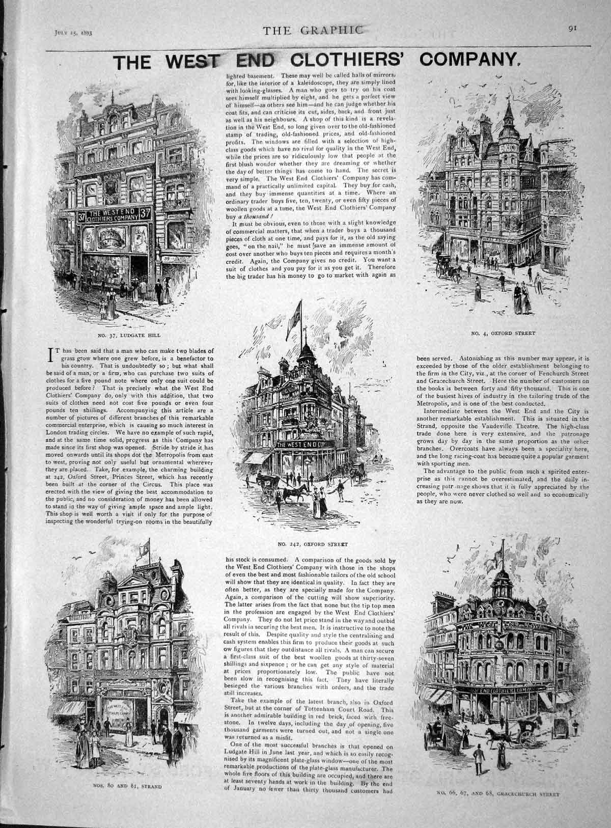 [Print 1893 West End Clothiers Company Oxford Street Strand 091M148 Old Original]