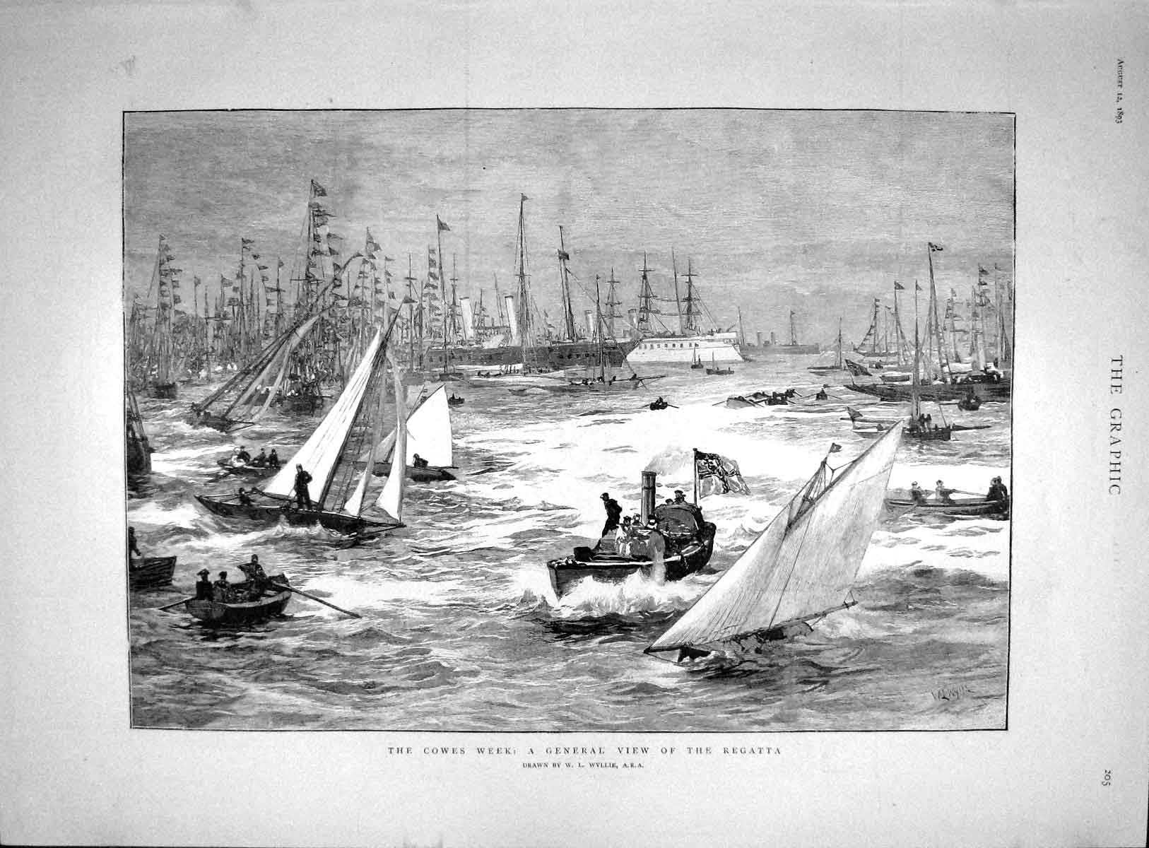 [Print 1893 Cowes Yachting Regatta Navy Ships Superb Benbow Old Original]