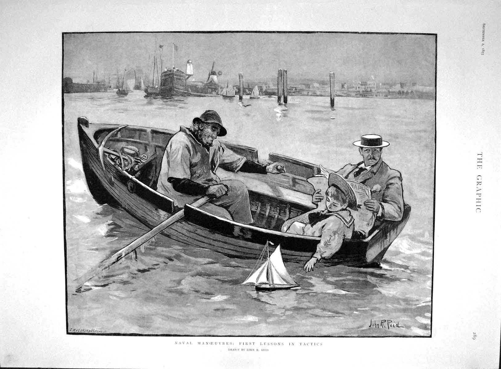 [Print 1893 Naval Manoeuvres Lesson Tactics Young Boy Boat 289M148 Old Original]