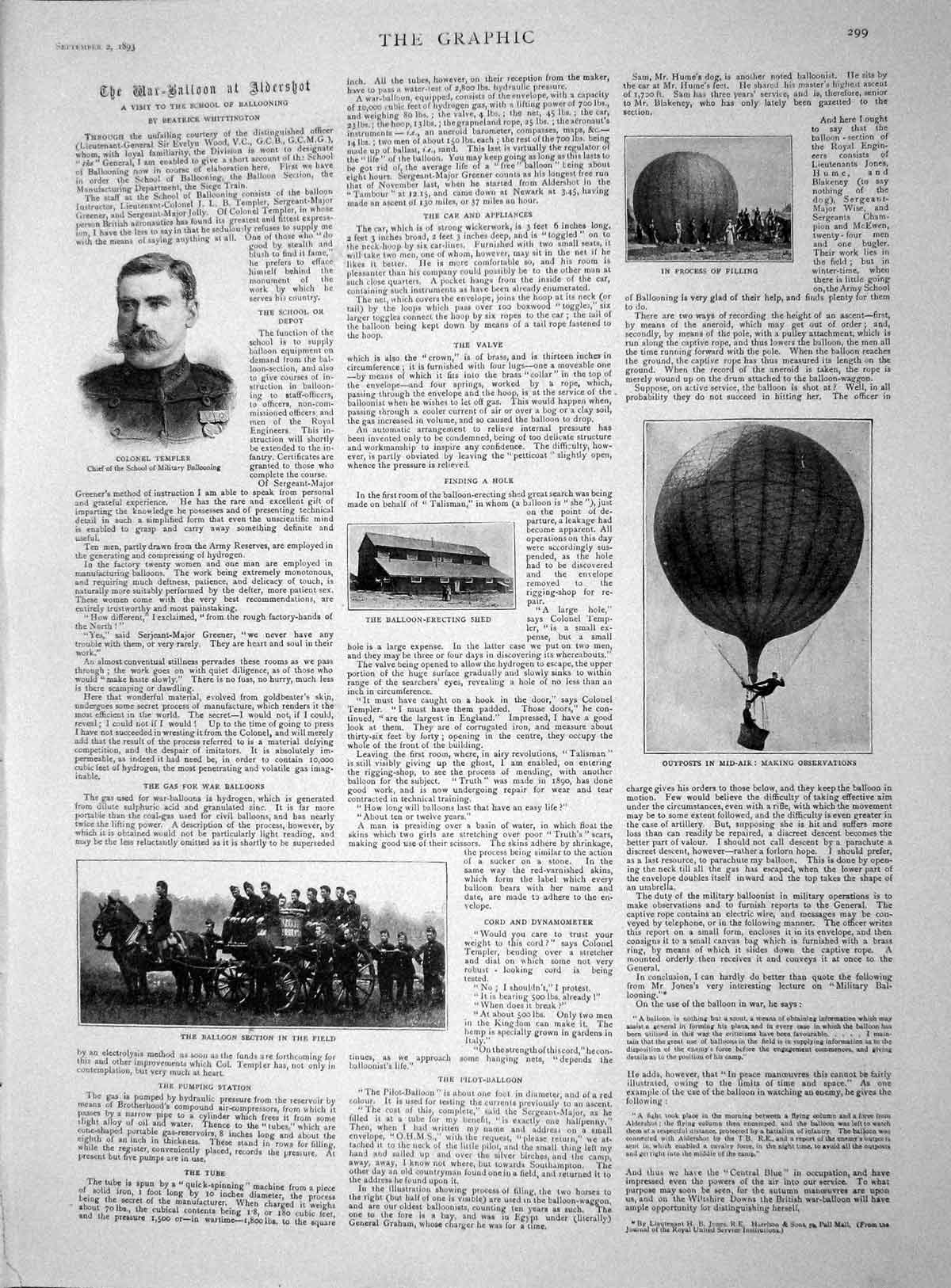 [Print 1893 Colonel Templer Military Balloon Harness Horses 299M148  Old Original]