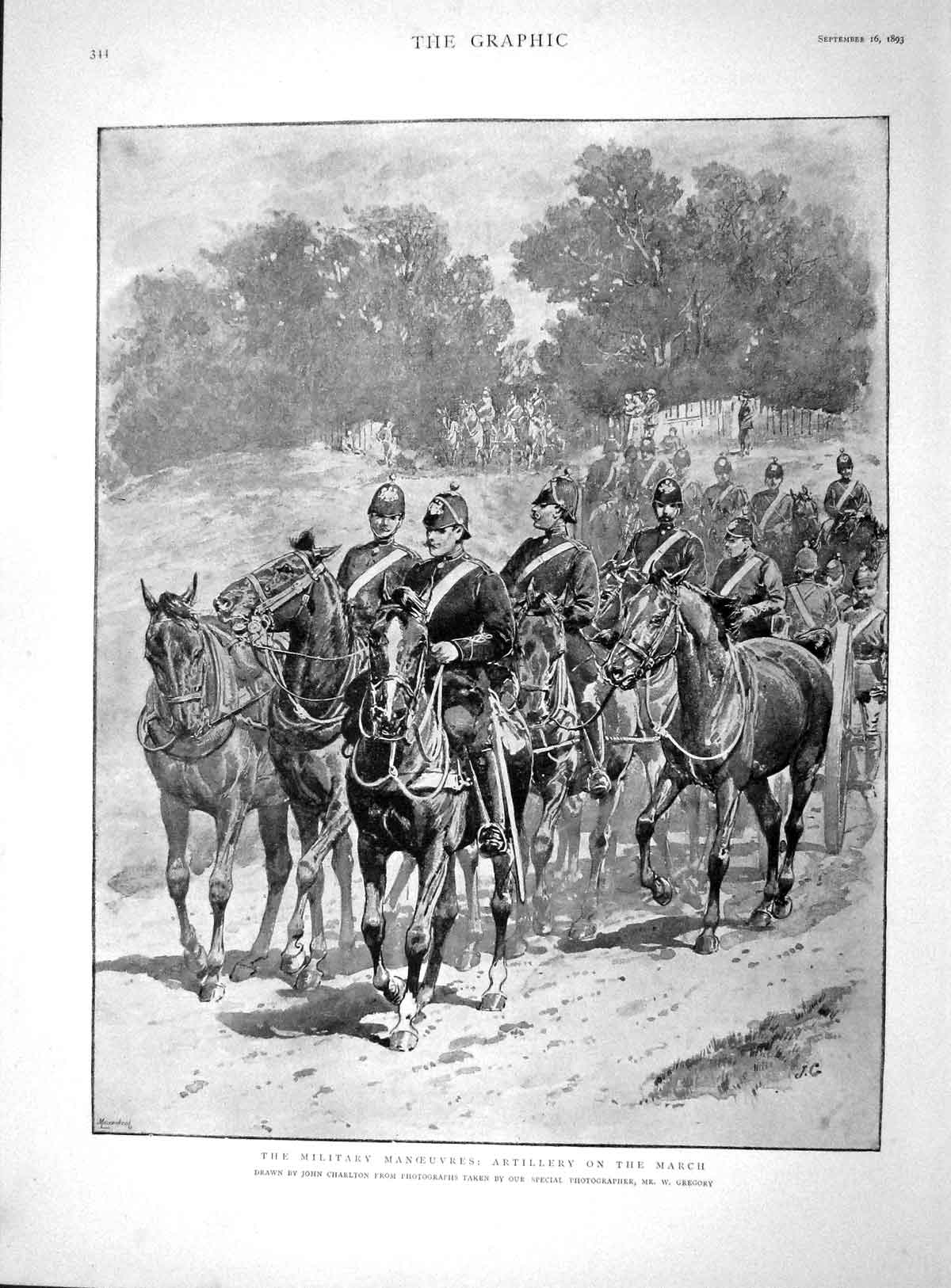 [Print 1893 Military Manoeuvres Artillery Marching Soldiers 344M148 Old Original]