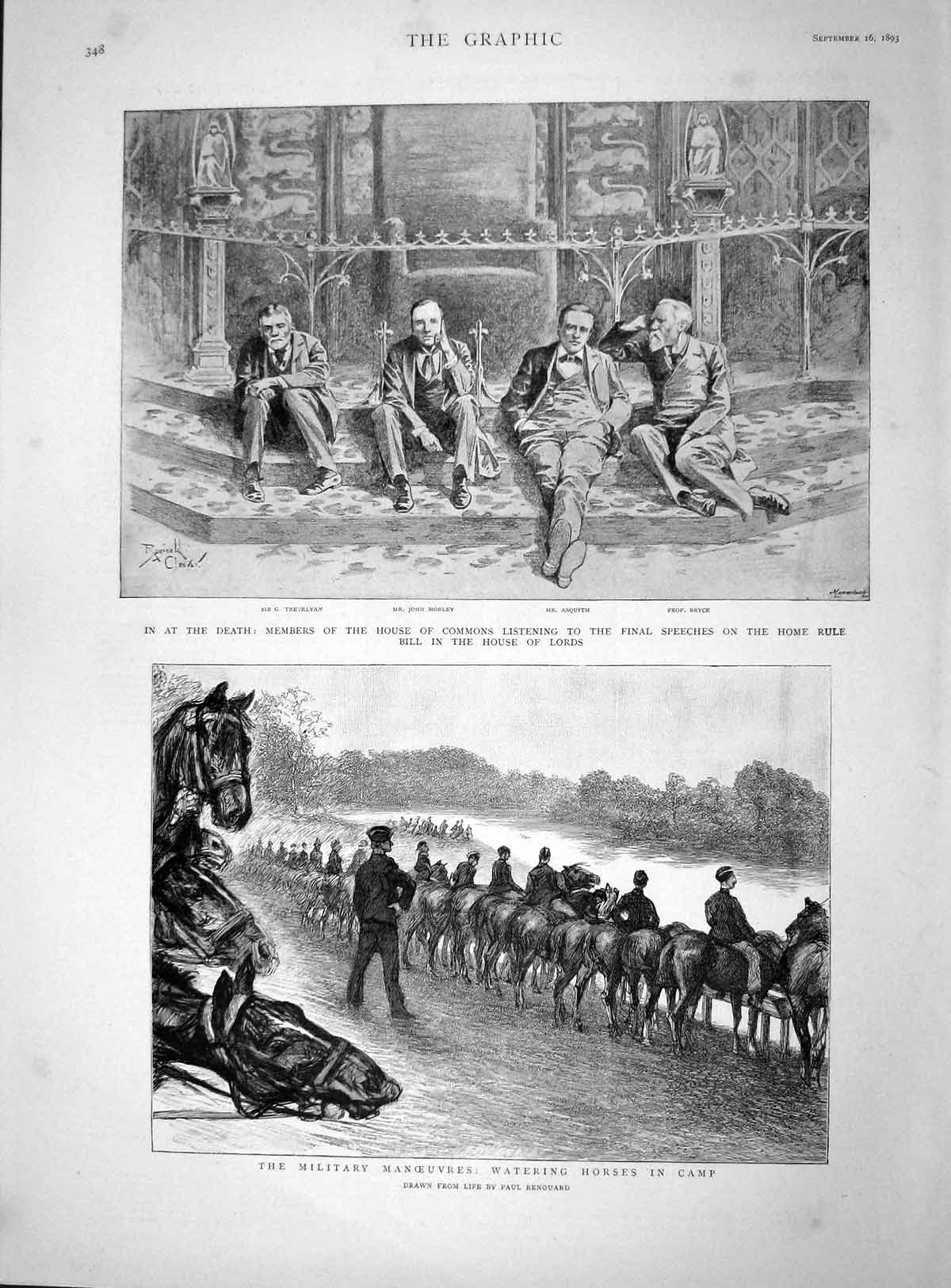 [Print 1893 House Commons Bryce Morley Trevelyan Asquith War 348M148 Old Original]