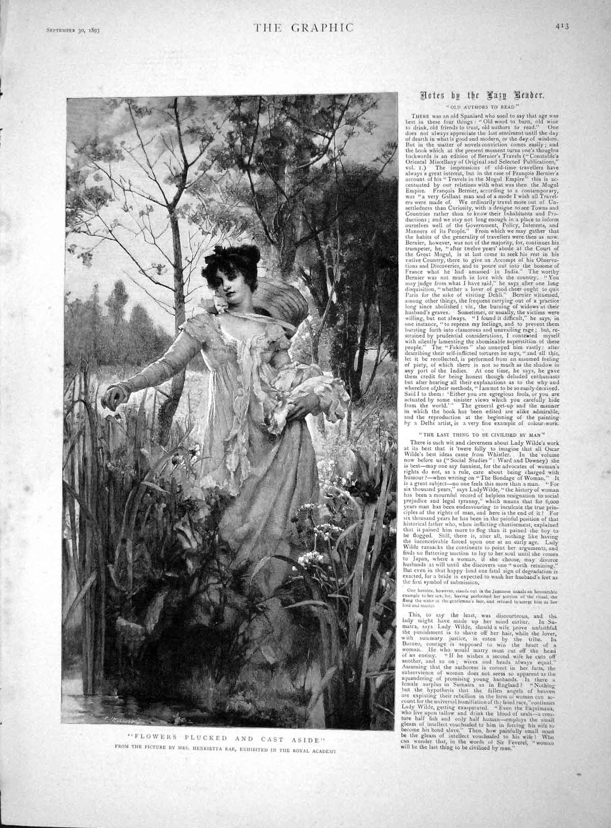 [Print 1893 Plucking Flowers Lady Countryside Nature Rae 413M148 Old Original]