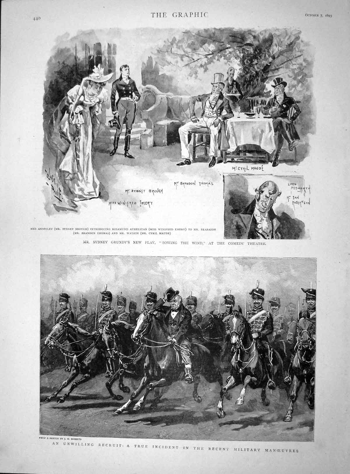 [Print 1893 Military Manoeuvres Soldiers Grundy Sowing Theatre 440M148 Old Original]