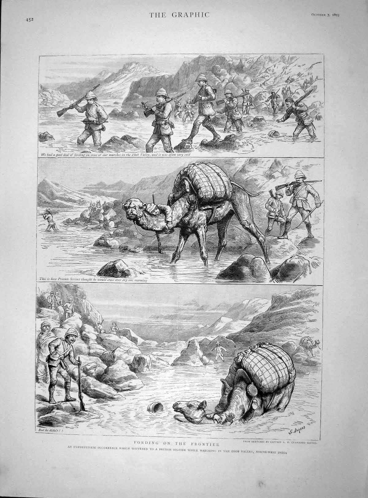 [Print 1893 Fording Frontier Zhob Valley India Camel Soldiers 452M148 Old Original]