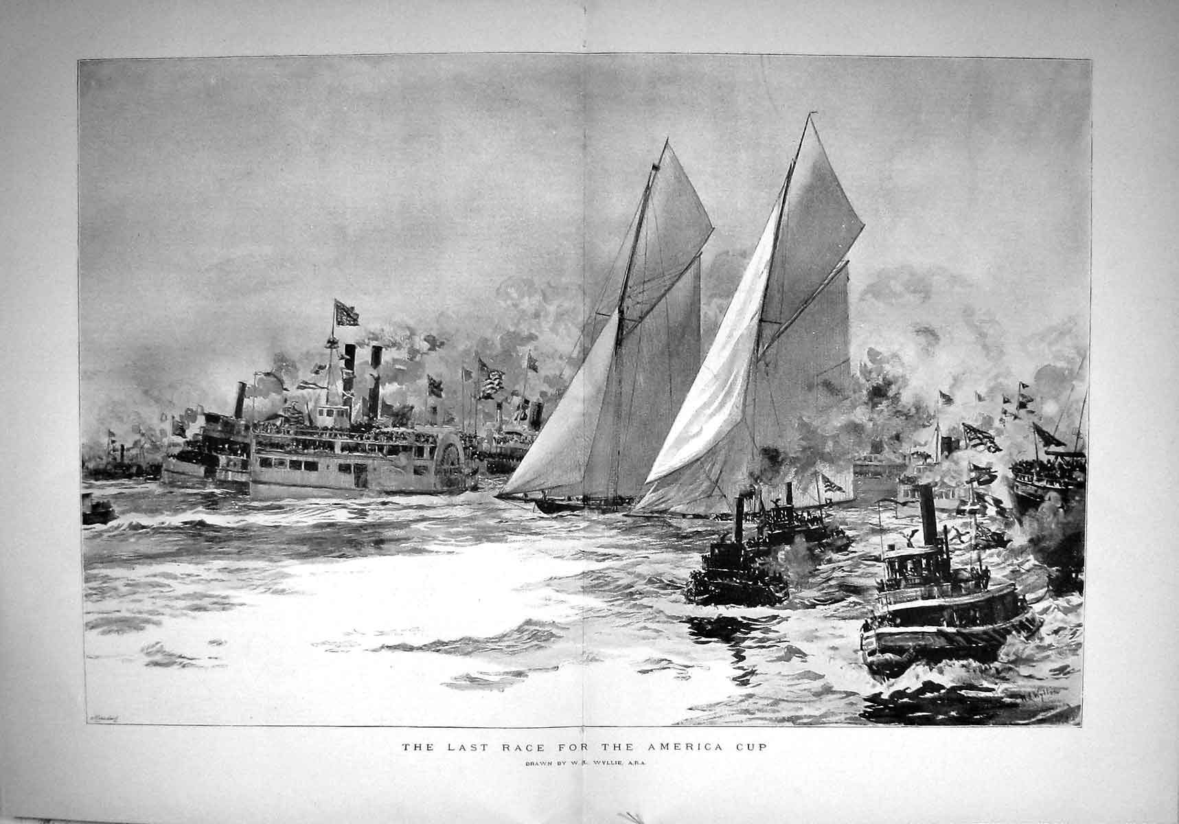 [Print 1893 Yacht Sailing Race America Cup Boats Sport Wyllie 537Tm148 Old Original]