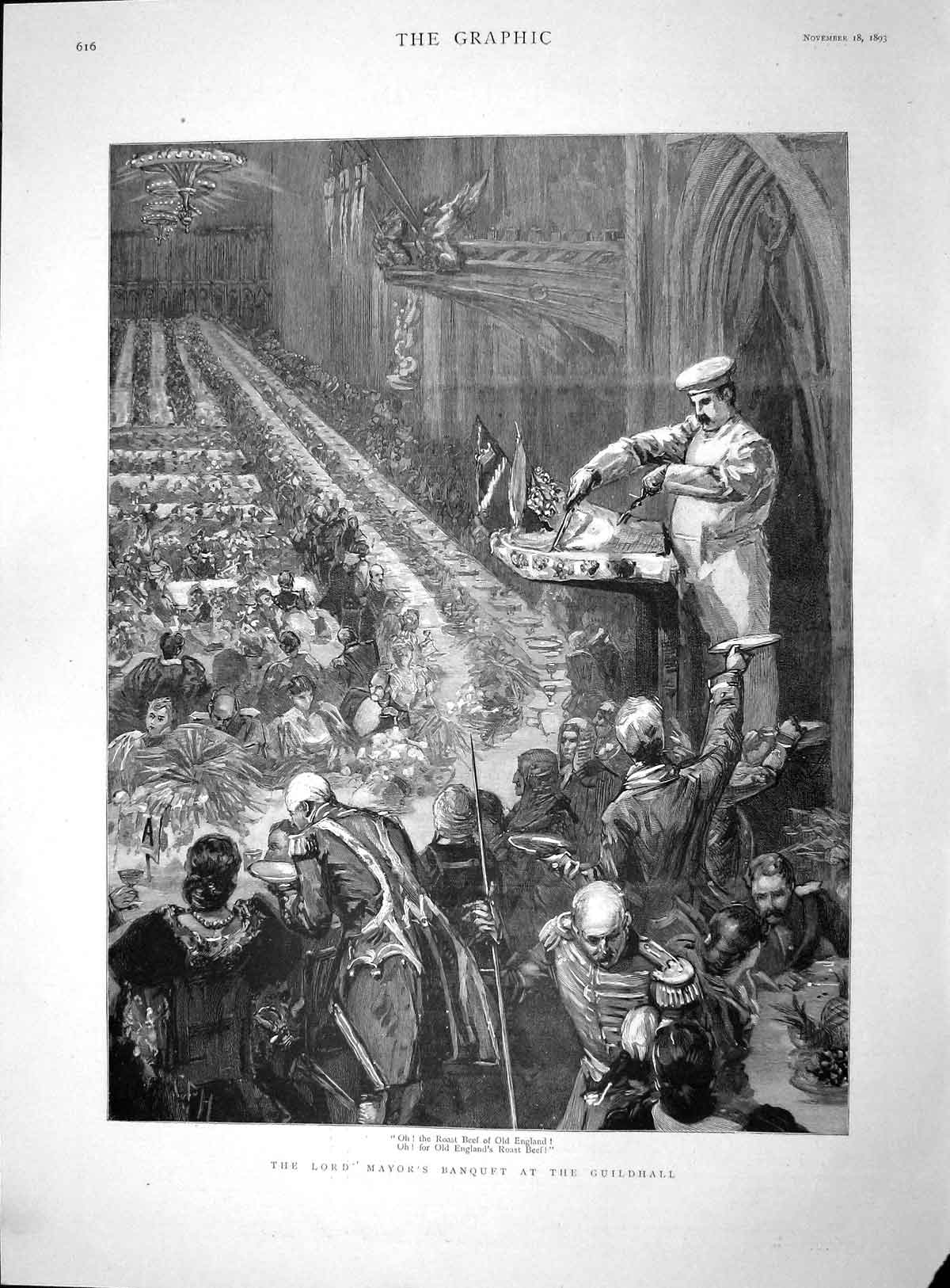[Print 1893 Lord Mayor Banquet Guildhall England Roast Beef 616M148 Old Original]
