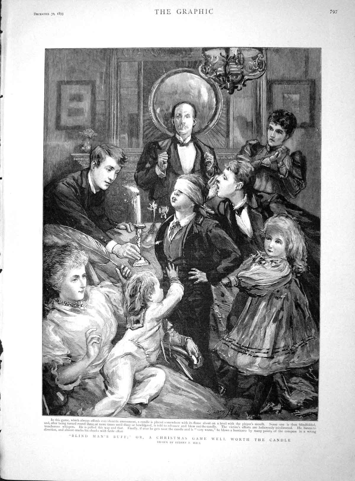 [Print 1893 Blind Man'S Buff Children Christmas Game Candle 797M148 Old Original]