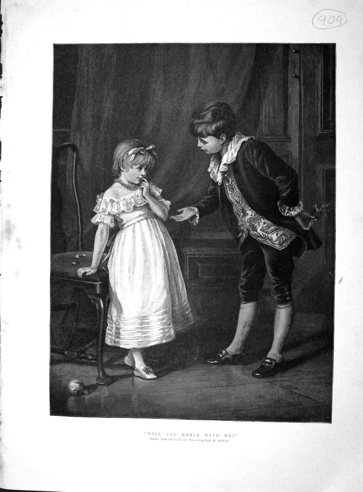 [Print 1893 Colour Will You Dance With Me Young Boy Girl 909M148 Old Original]