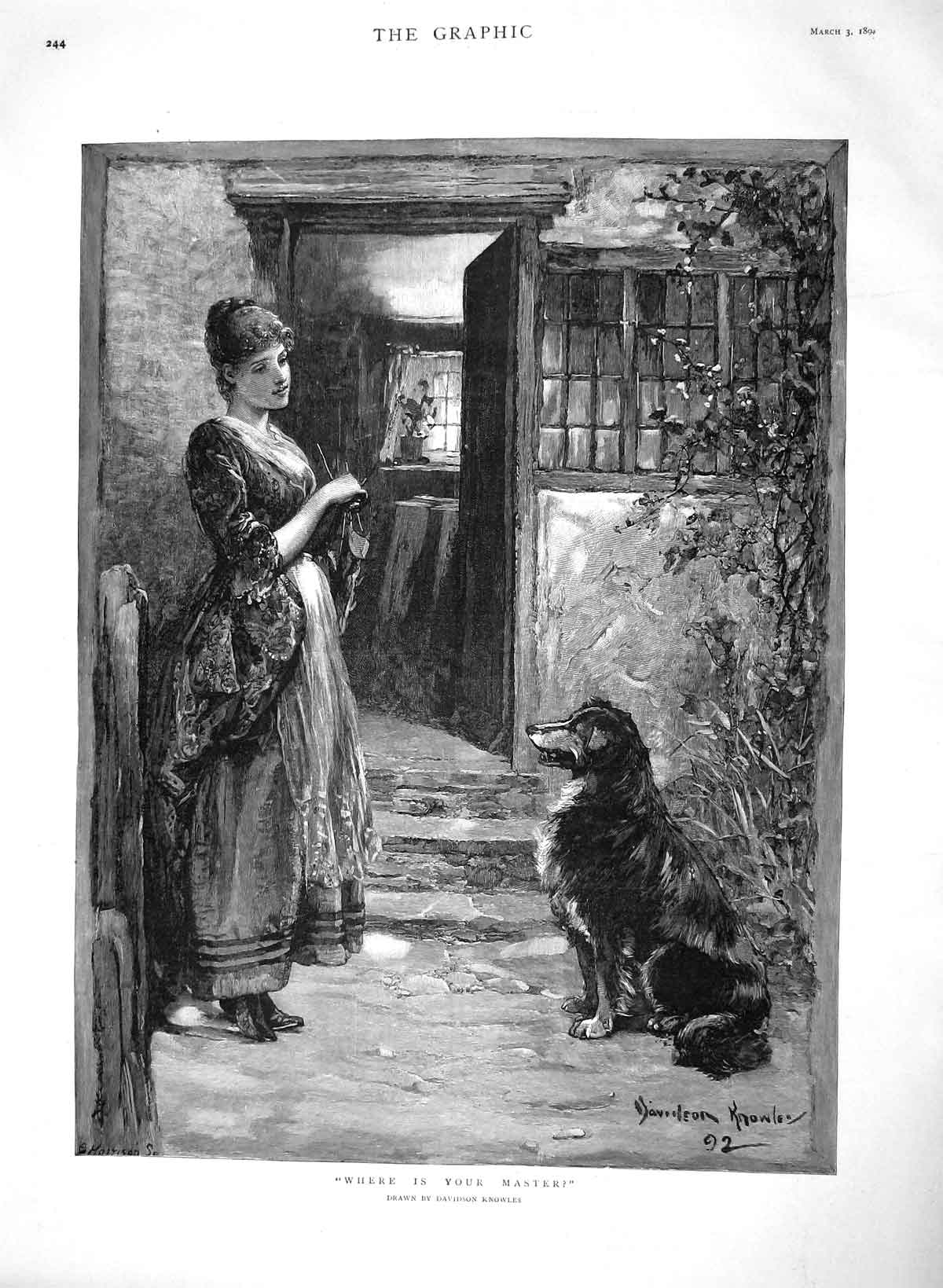 [Print 1894 Where Is Your Master Young Lady Lost Dog Knowles 244M149 Old Original]