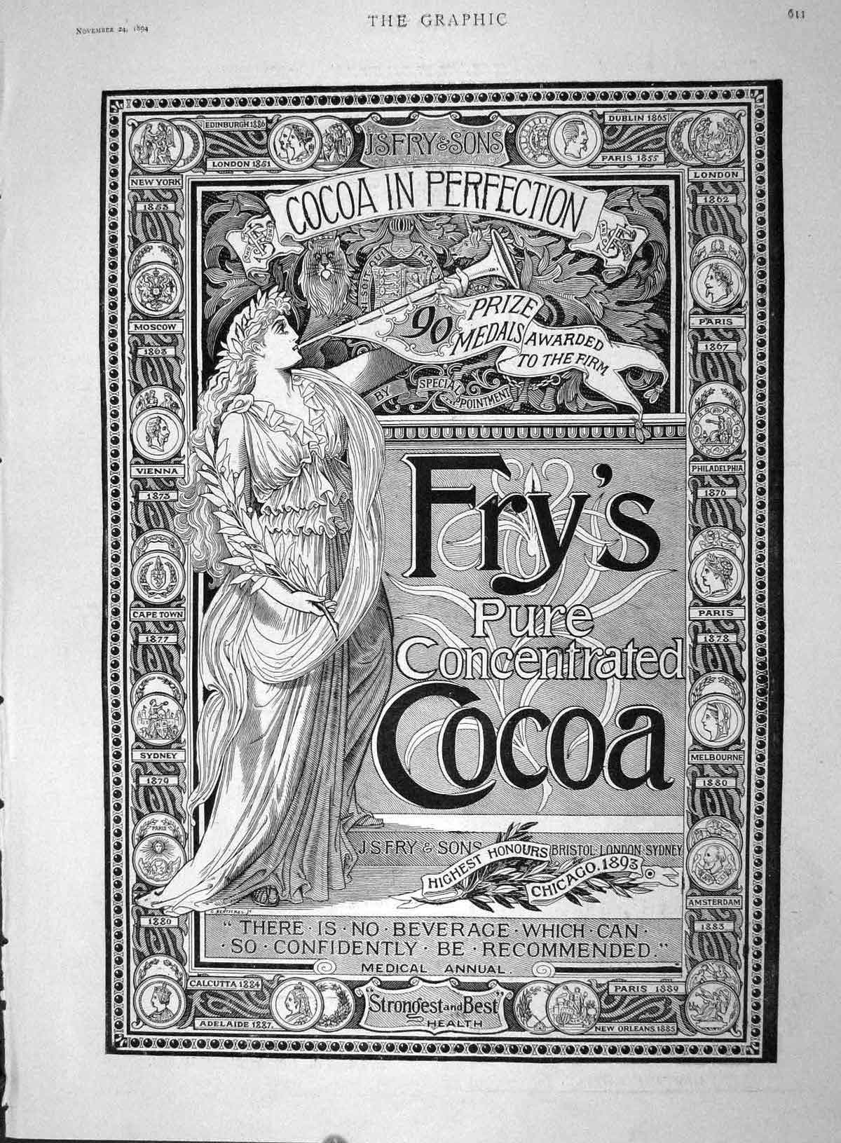 [Print 1894 Advertisment Fry Son Pure Concentrated Cocoa  Old Original]