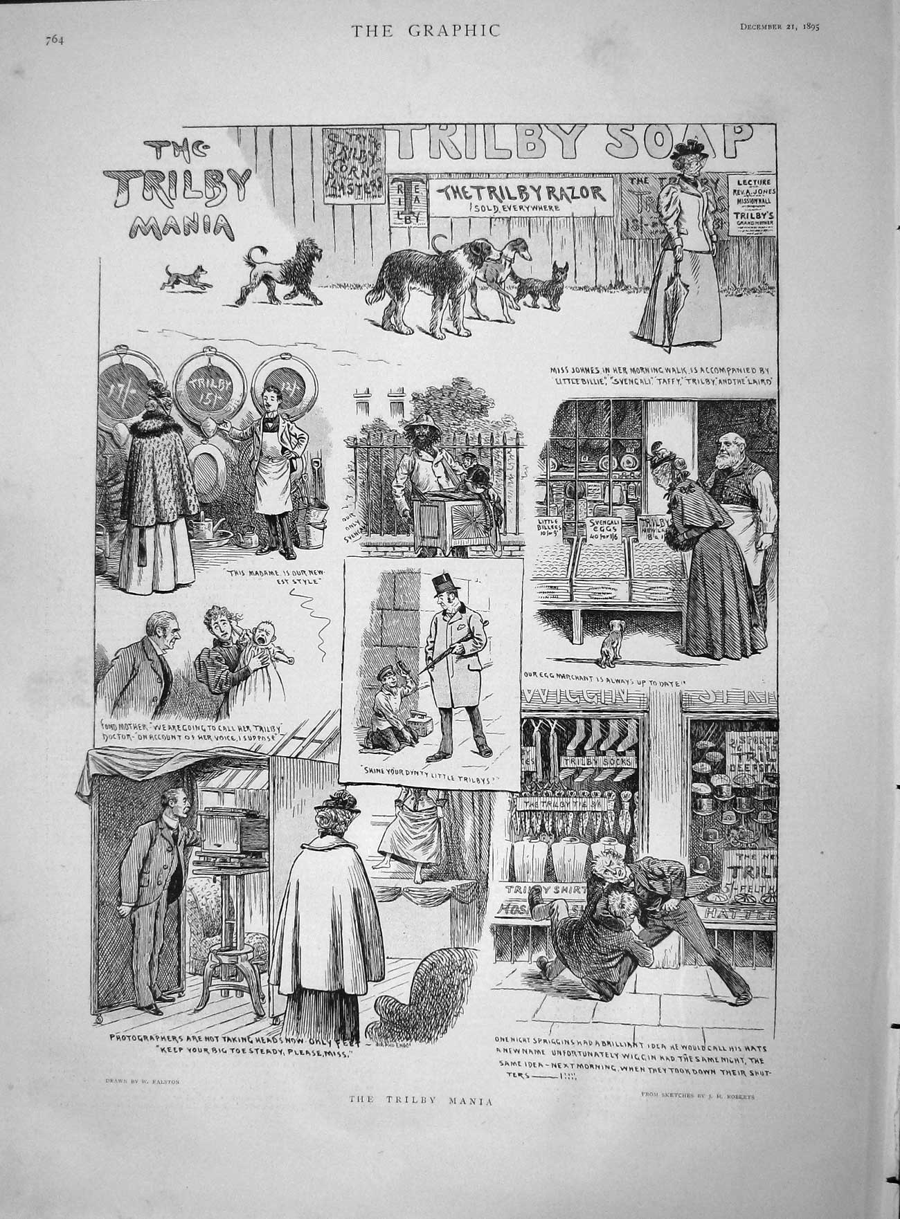 [Print 1895 Trilby Mania Soap Shopping Dogs Street Scene Old Original]
