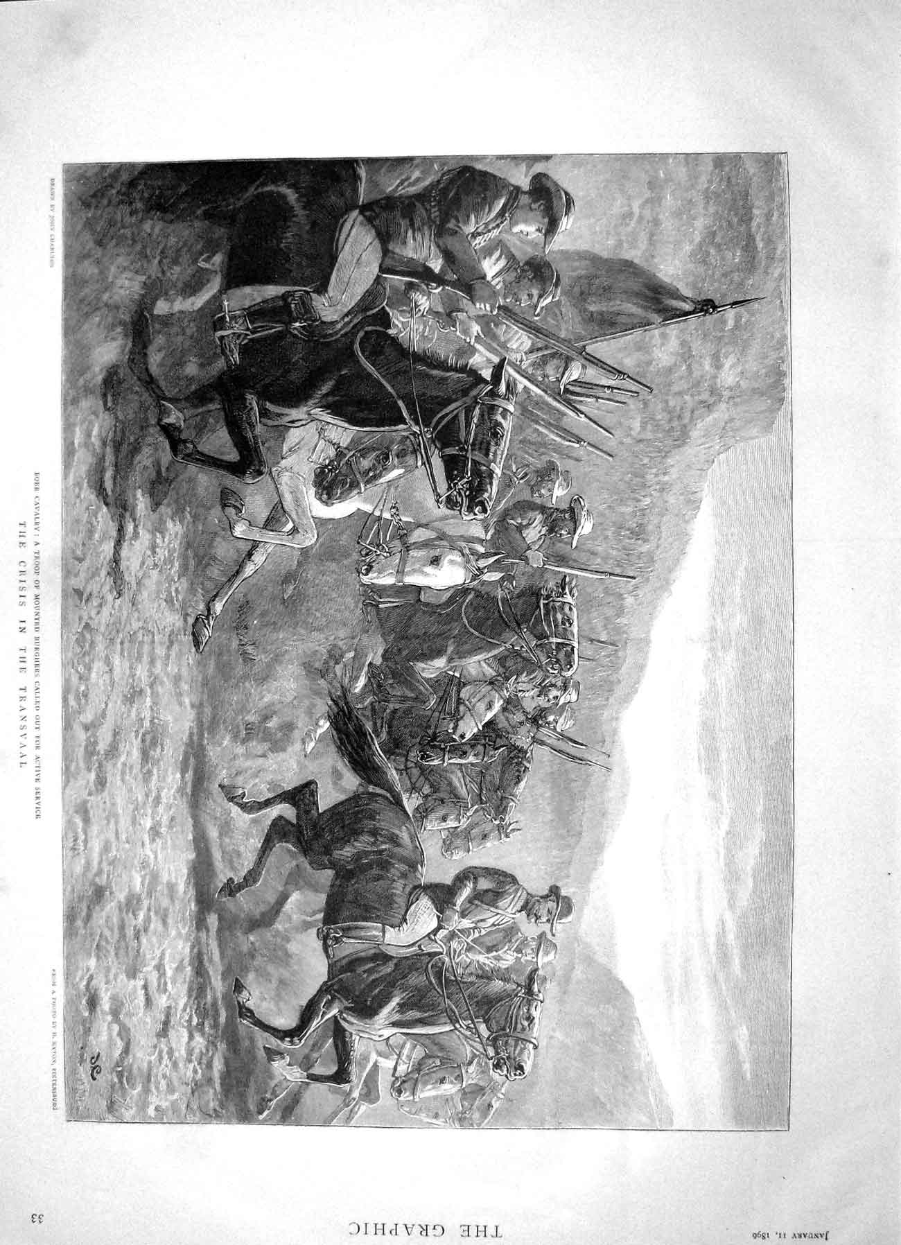 [Print 1896 Boer Cavalry Mounted Burghers Transvaal War 033M153 Old Original]