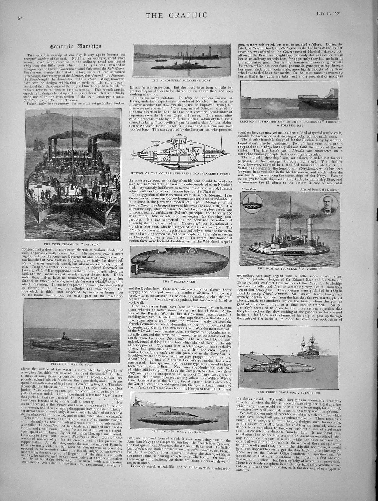 [Print 1896 War Ships Castalia Peacemaker Holland Lucerne Tour 054M154 Old Original]