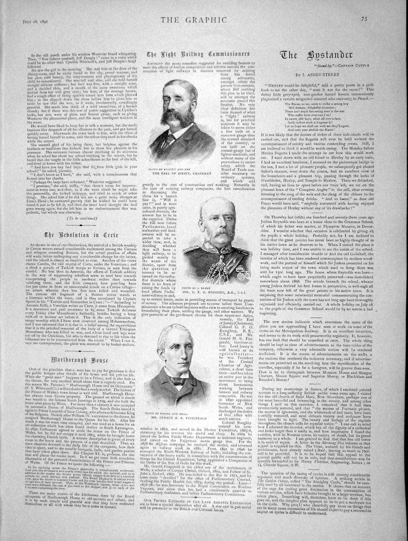 [Print 1896 Earl Jersey Railway Fitzgerald Battle Ship War  Old Original]