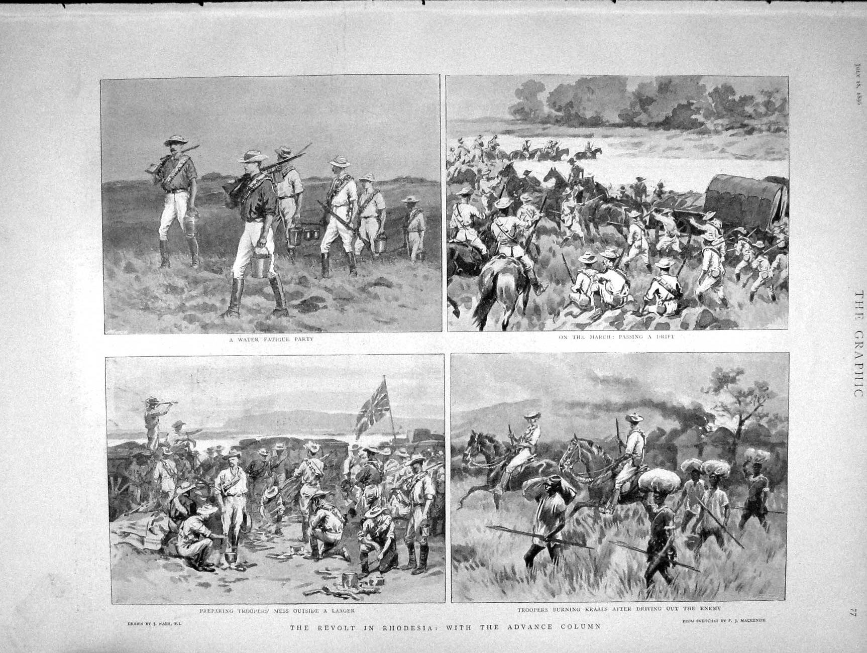 [Print 1896 Rhodesia Soldiers War Roddy Owen Paget Maccormac 077M154 Old Original]