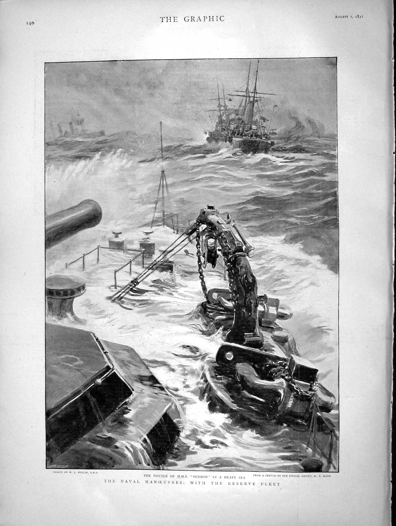 [Print 1896 War Ship Benbow Cuillante Masson Lejeune Berthelet 140M154 Old Original]