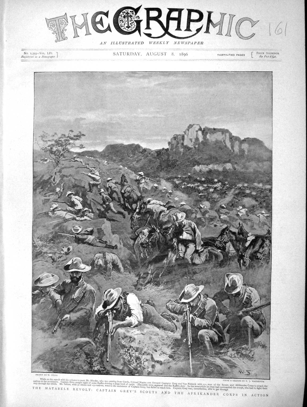 [Print 1896 Matabele Revolt Captain Grey Socuts Afrikander War 161M154 Old Original]