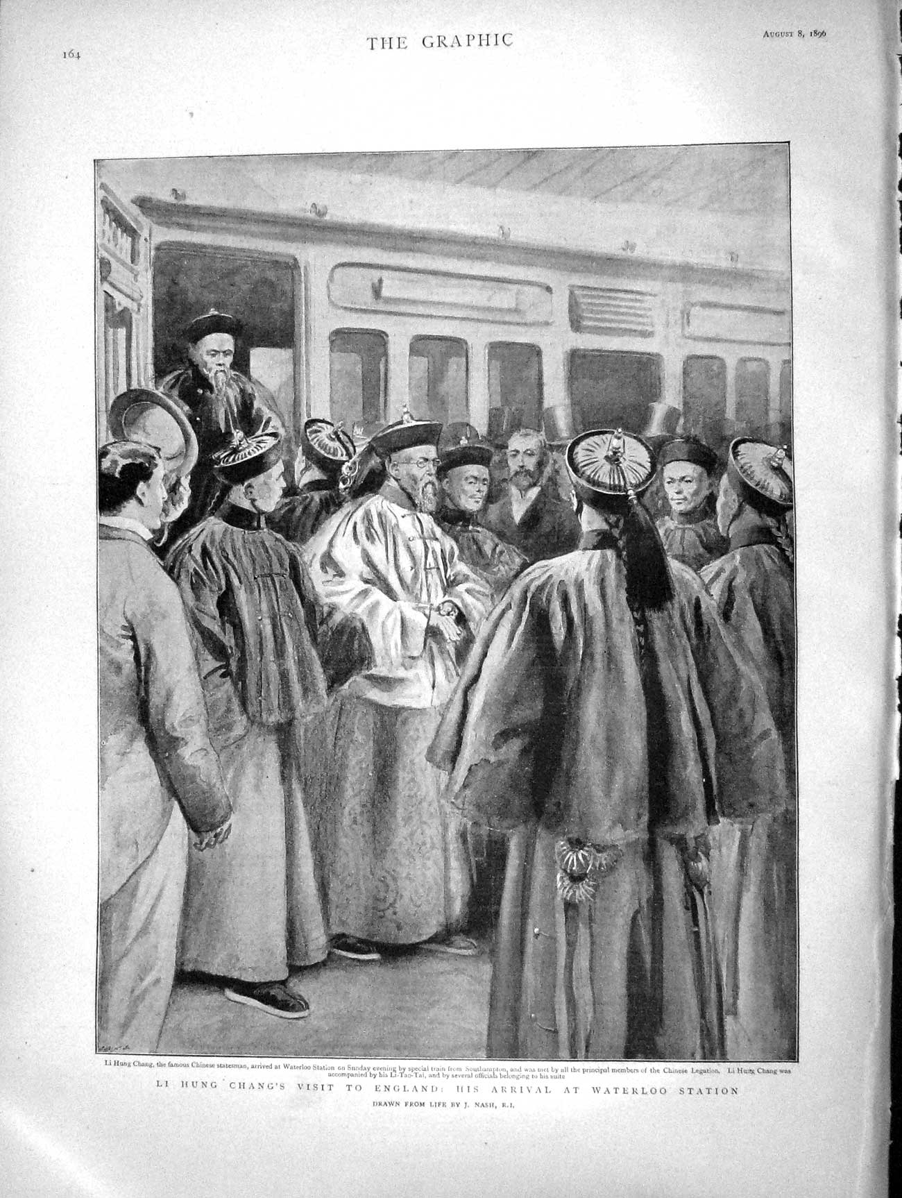 [Print 1896 Li Hung Chang Waterloo Train Station Li-Tao-Tai  Old Original]