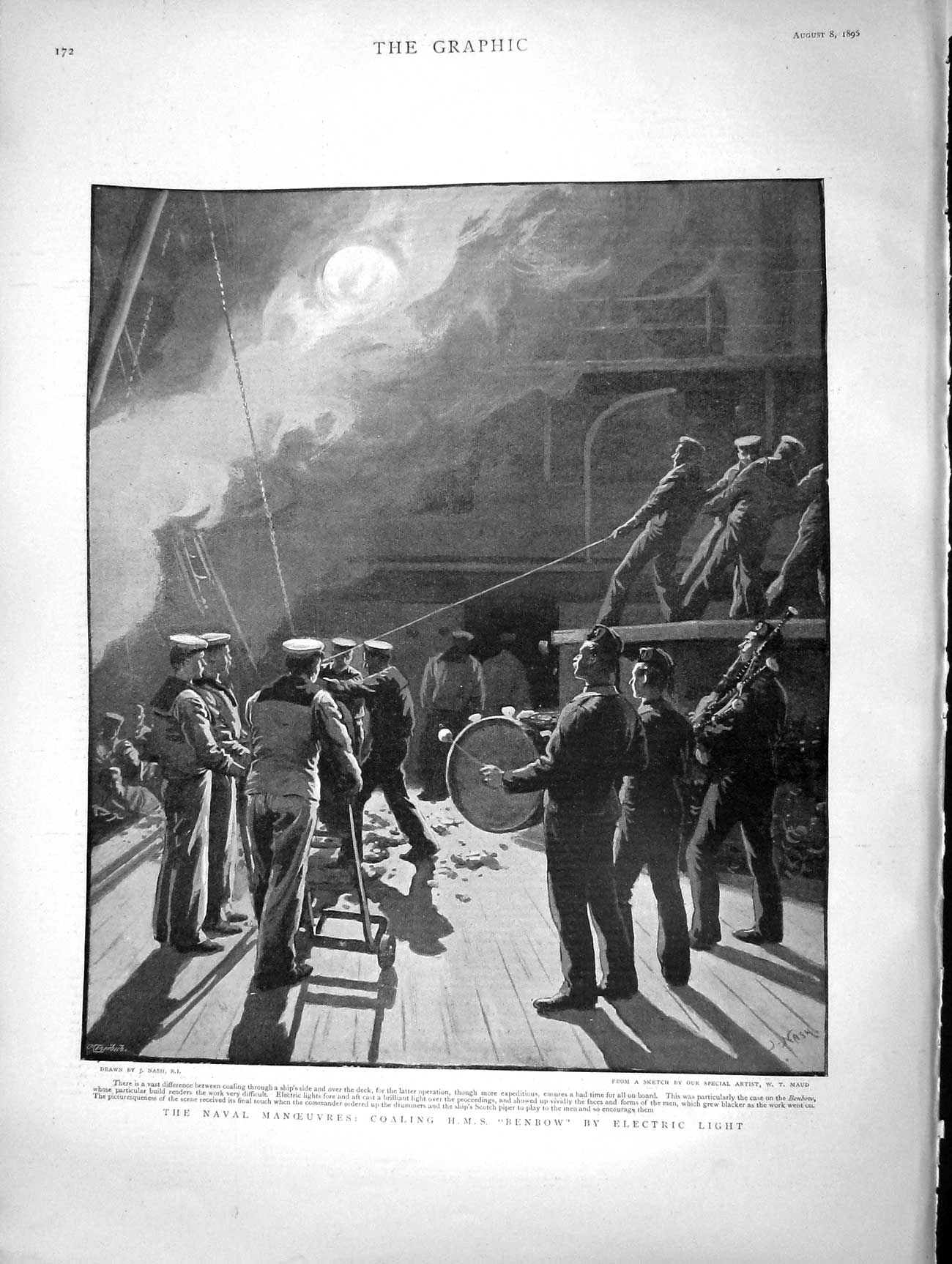 [Print 1896 Naval Manoeuvres Coaling Ship Benbow Electric 172M154 Old Original]