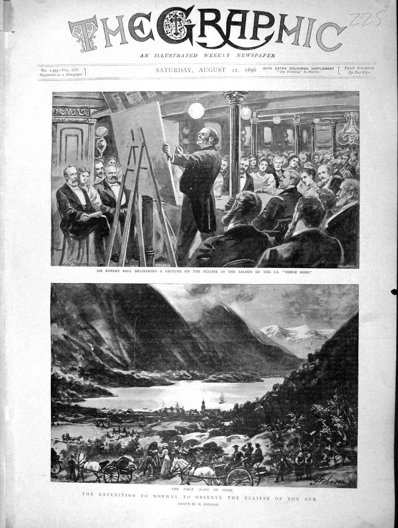 [Print 1896 Robert Ball Eclipse Sun Norway Ship Norse King Old Original]