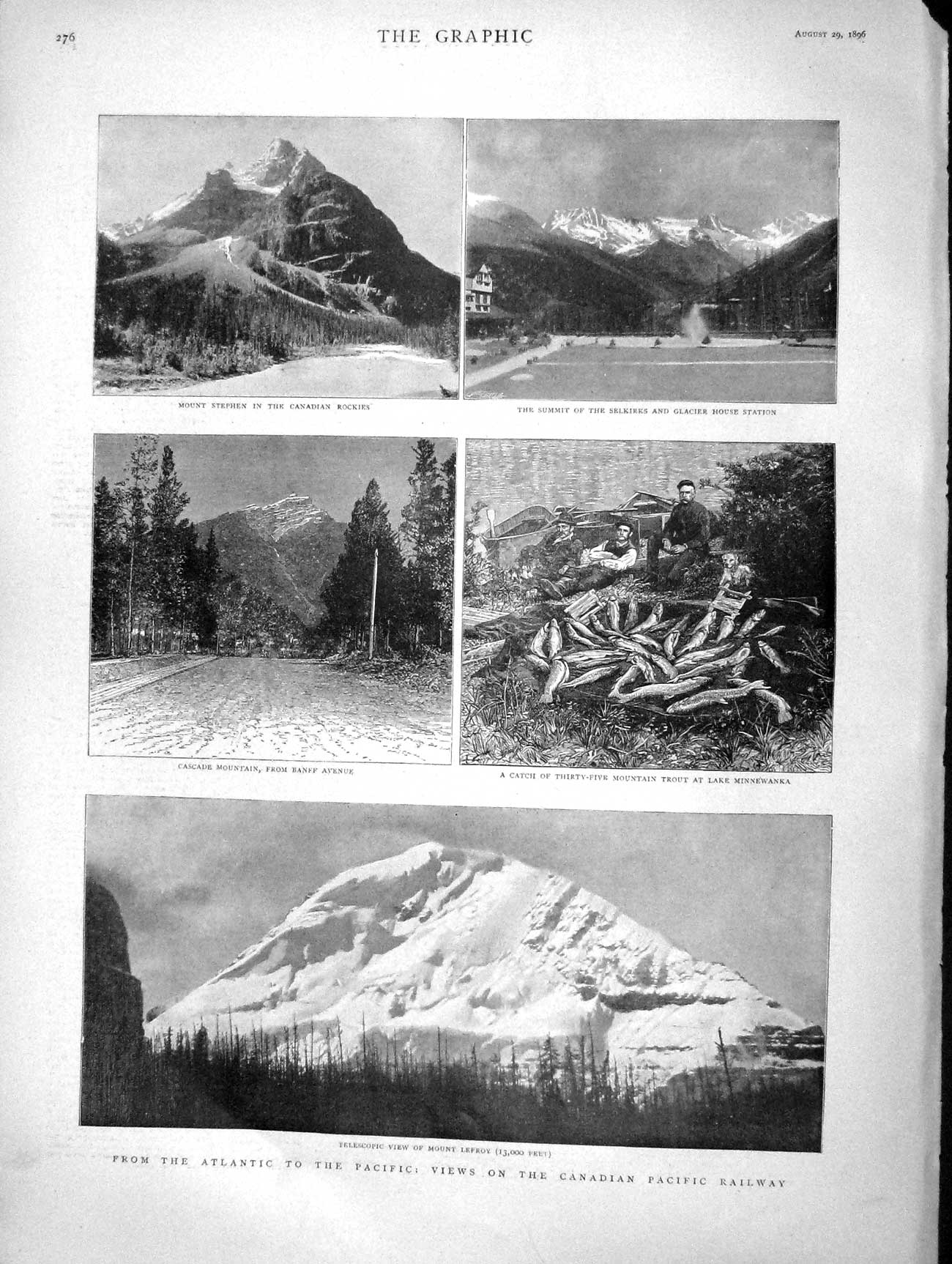 [Print 1896 Canada Pacific Railway Mount Lefroy Selkirks Rocky  Old Original]