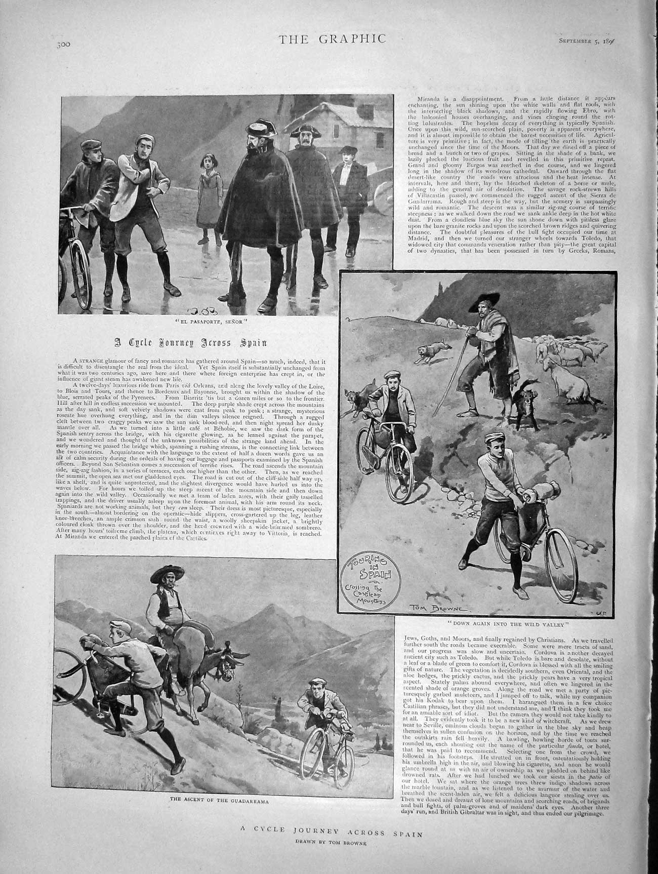 [Print 1896 Spain Guadarrama Bicycles Hotel Tout Seville Patio  Old Original]