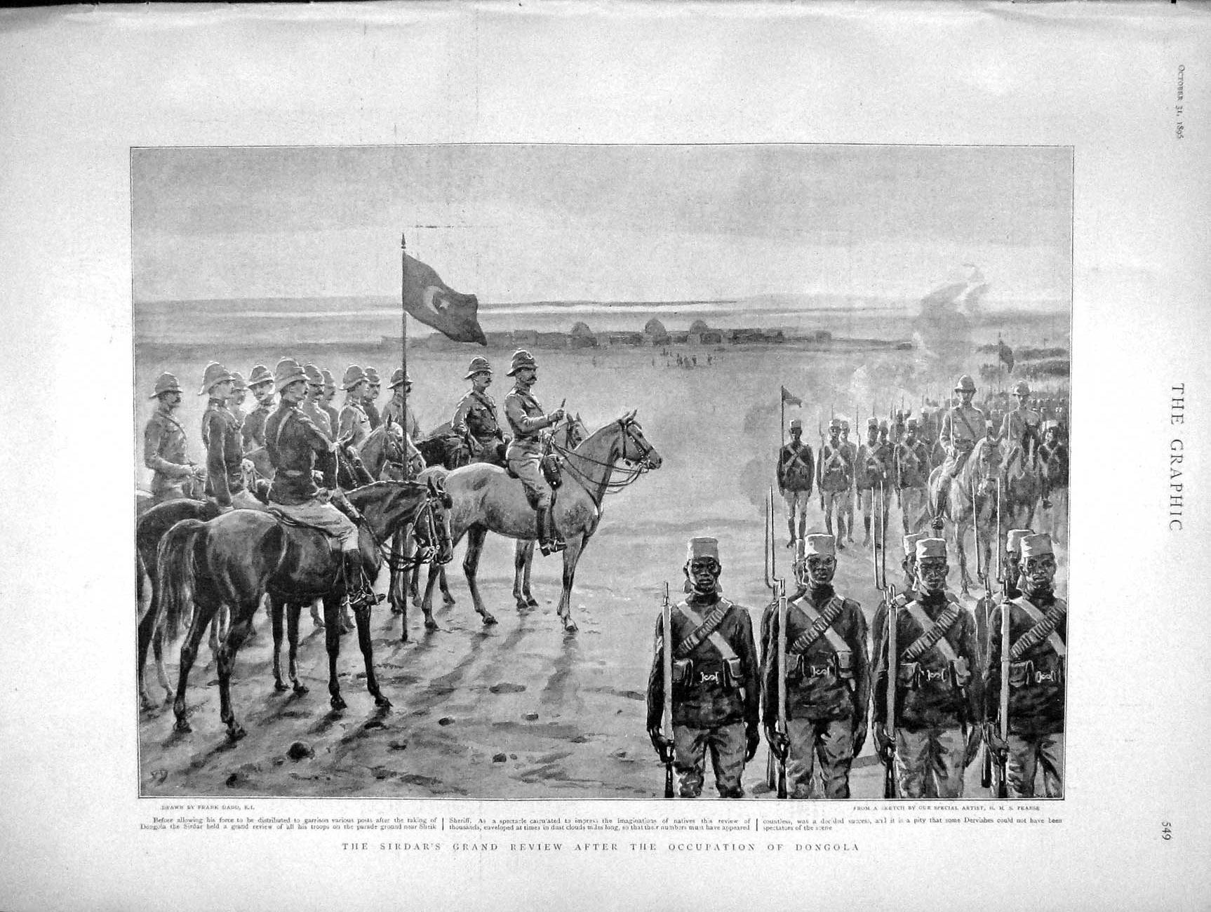 [Print 1896 Sirdar Review Soldiers Occupation Dongola War 549M154 Old Original]