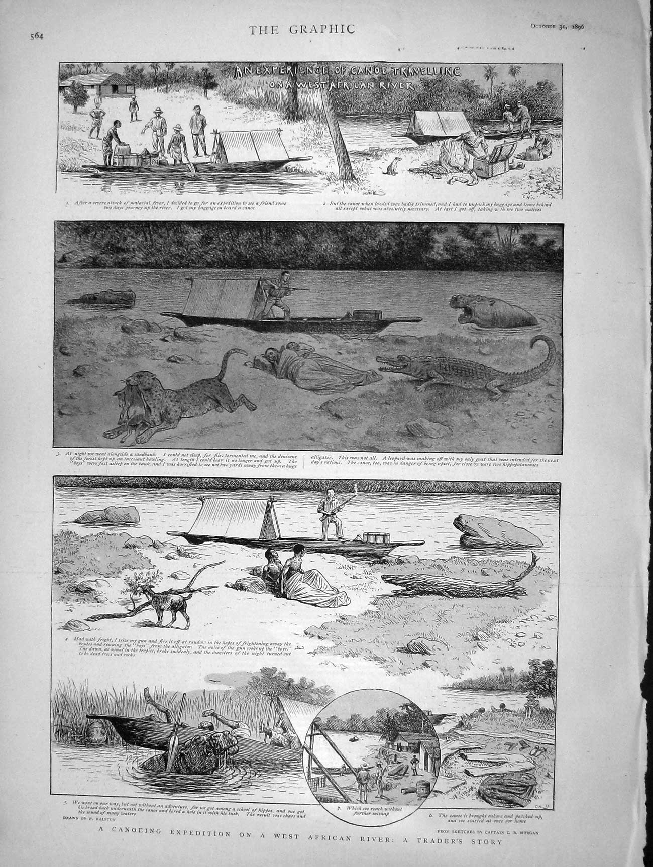 [Print 1896 Canoeing African River Rhinocerous Hunting 564M154 Old Original]