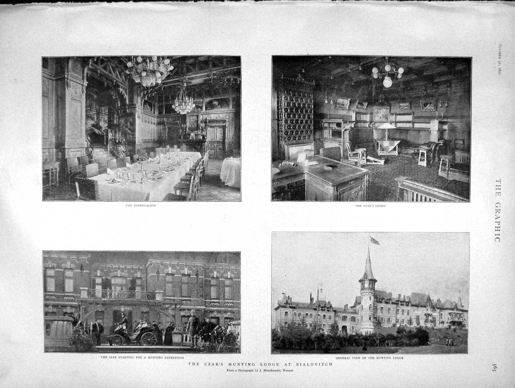 [Print 1896 Czar Hunting Lodge Bialovitch Study Dining Room 565M154 Old Original]