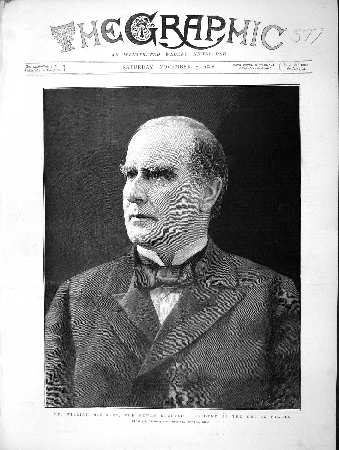 [Print 1896 William Mckinley President United States America Old Original]