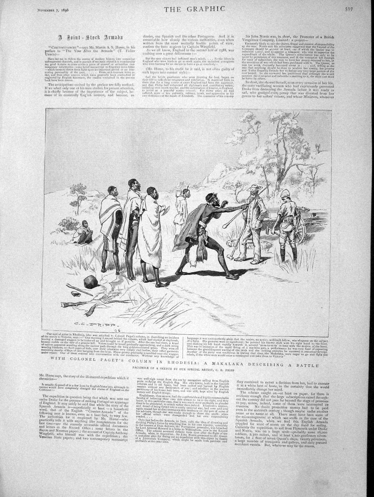 [Print 1896 Colonel Paget Rhodesia Makalaka Africa Natives 597M154 Old Original]