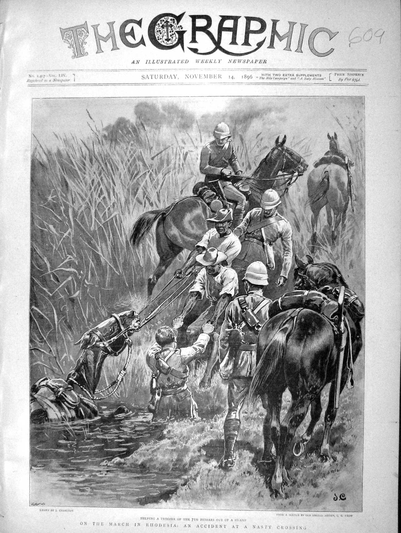 [Print 1896 Soldiers Rhodesia Africa Hussars Trooper Swamp War 609M154 Old Original]