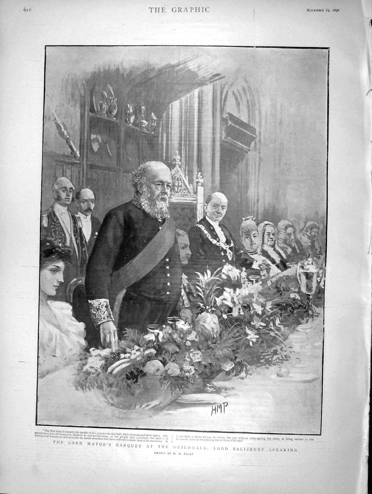 [Print 1896 Lord Mayor Banquet Guildhall Salisbury Speaking 612M154 Old Original]