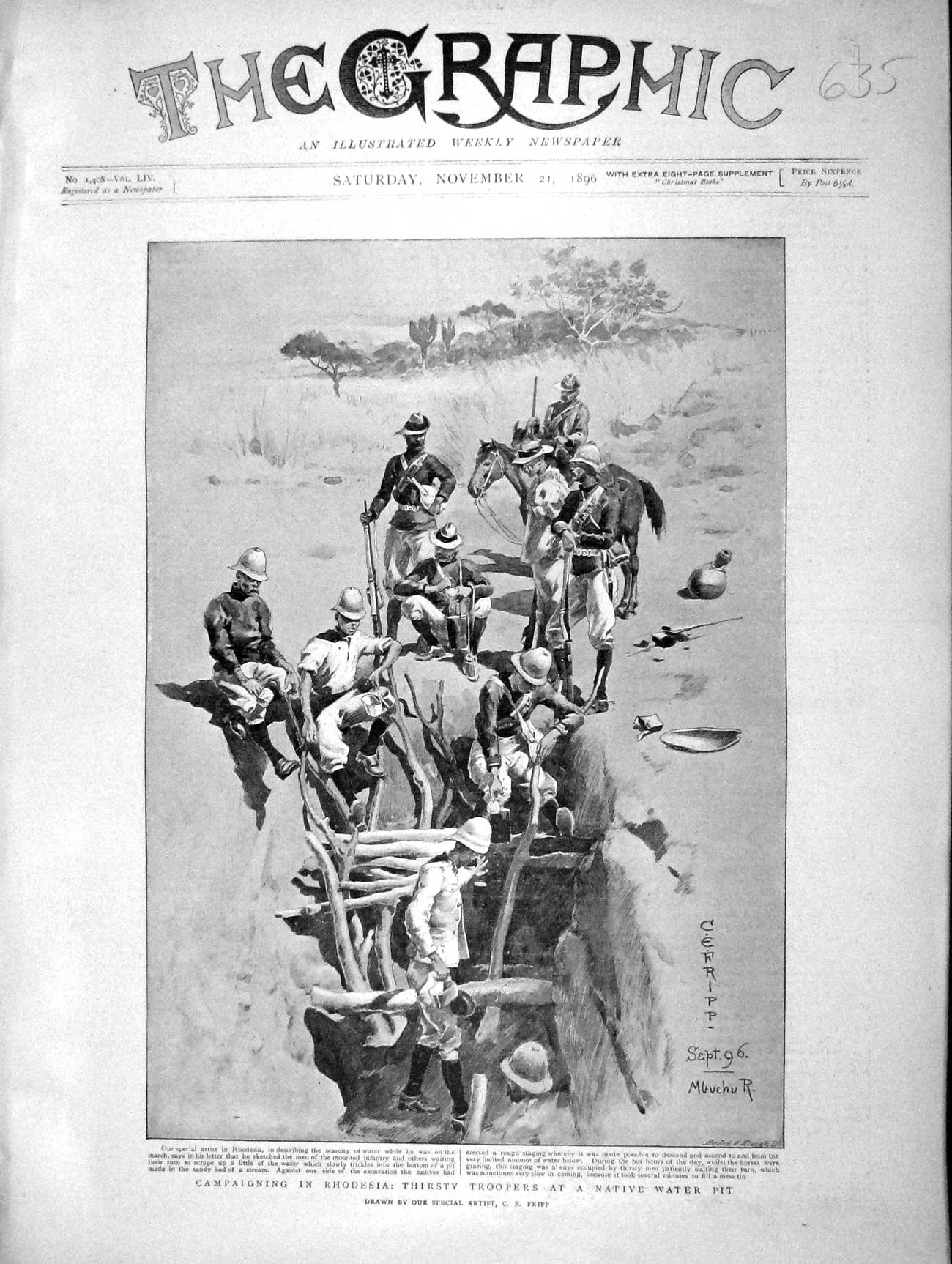 [Print 1896 Rhodesia Troopers Native Water Pit Africa War 635M154 Old Original]