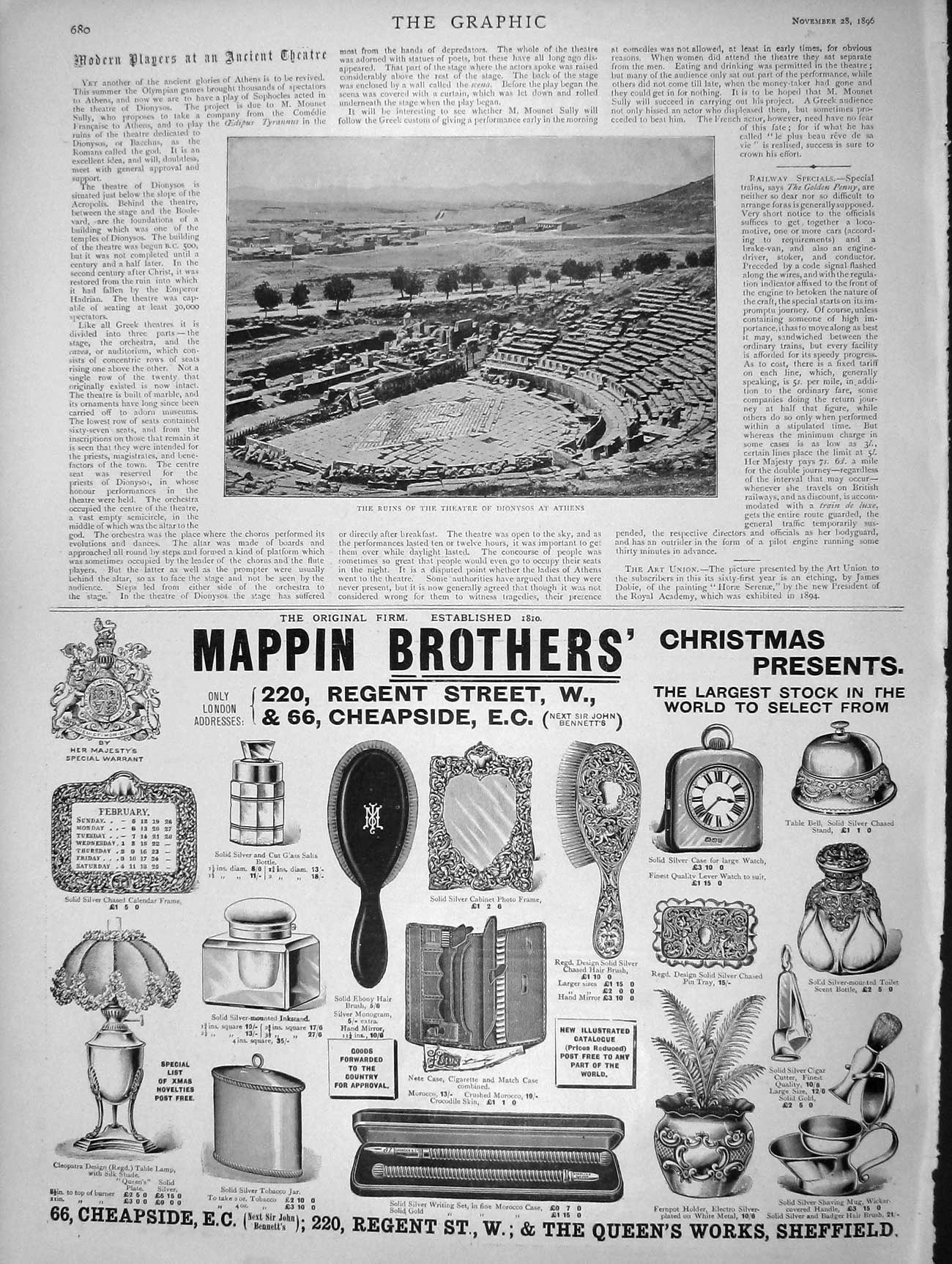 [Print 1896 Ruins Theatre Dionysos Athens Mappin Brothers 680M154 Old Original]